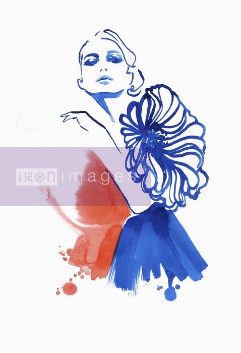Jessica Durrant - Fashion illustration of model wearing dress with large flower