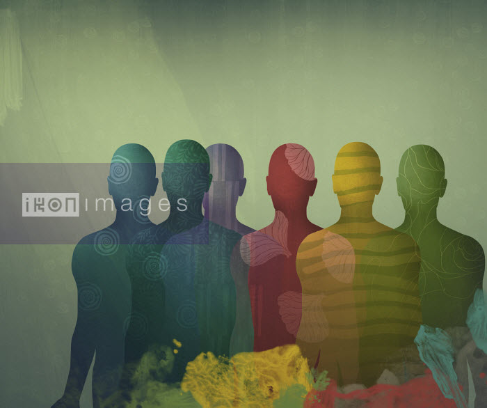 Darren Hopes - Overlapping different coloured male silhouettes