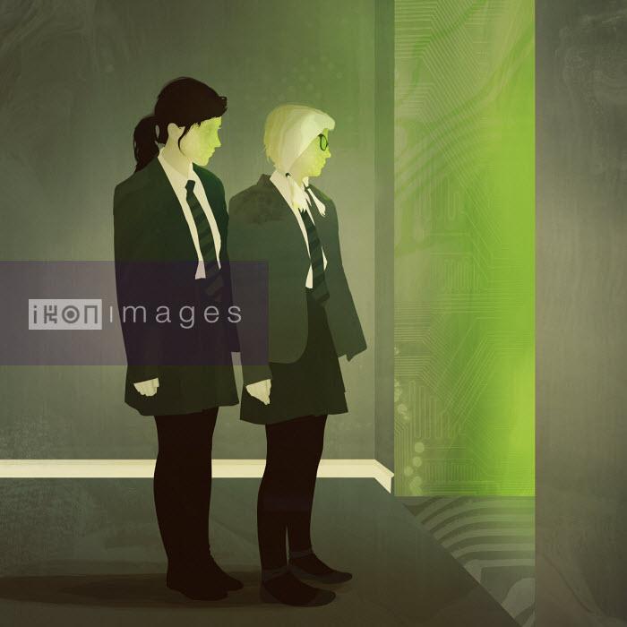 Two schoolgirls peeping into doorway into cyberspace - Darren Hopes