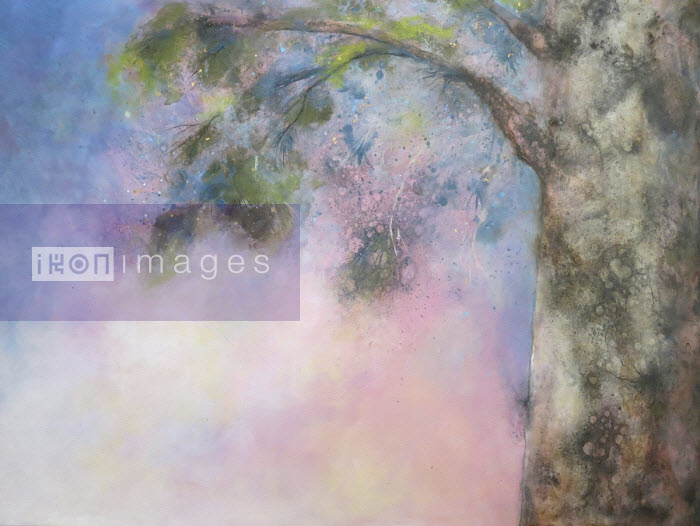 Doris Charest - Painting of tree branch against pink sky