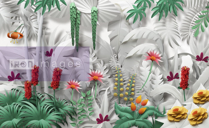 Gail Armstrong - Paper sculpture of lush jungle plants