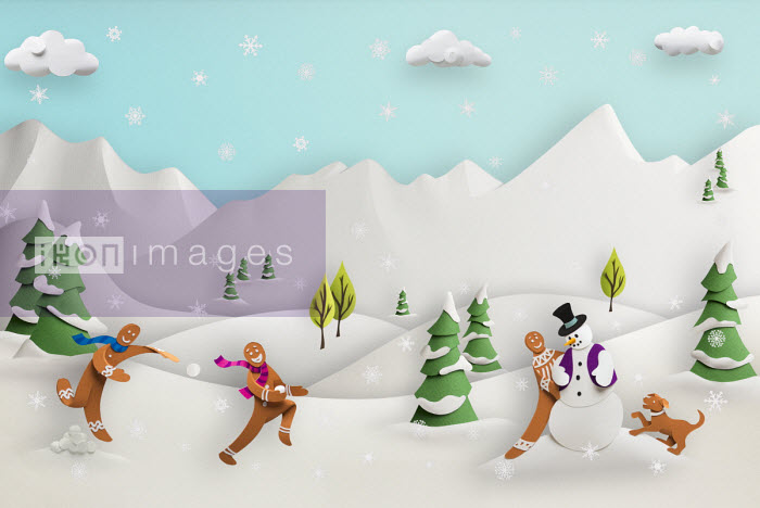 3D papercut image by Gail Armstrong for use as illustration - Paper sculpture of cute gingerbread men playing in snowy landscape - Gail Armstrong