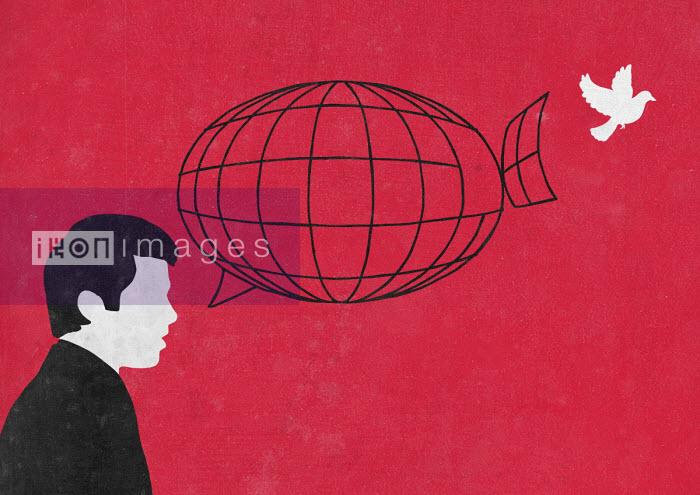 White dove escaping from speech bubble birdcage - Sergio Ingravalle