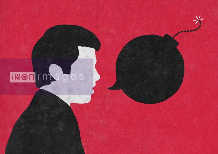 Hate speech from man with bomb speech bubble - Sergio Ingravalle