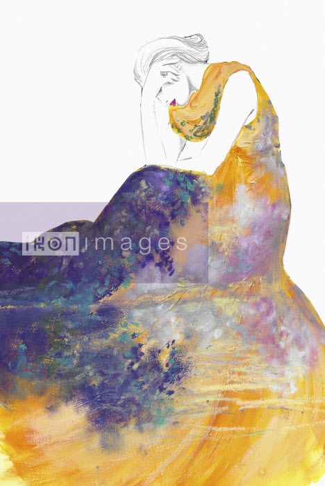 Fashion illustration of woman in beautiful gown leaning on elbows Jessica Durrant