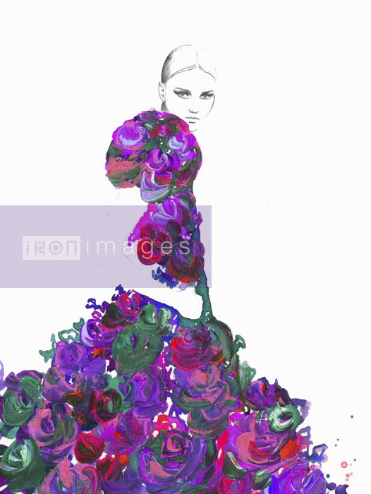 Fashion illustration of woman wearing floral pattern ruffled evening gown Jessica Durrant