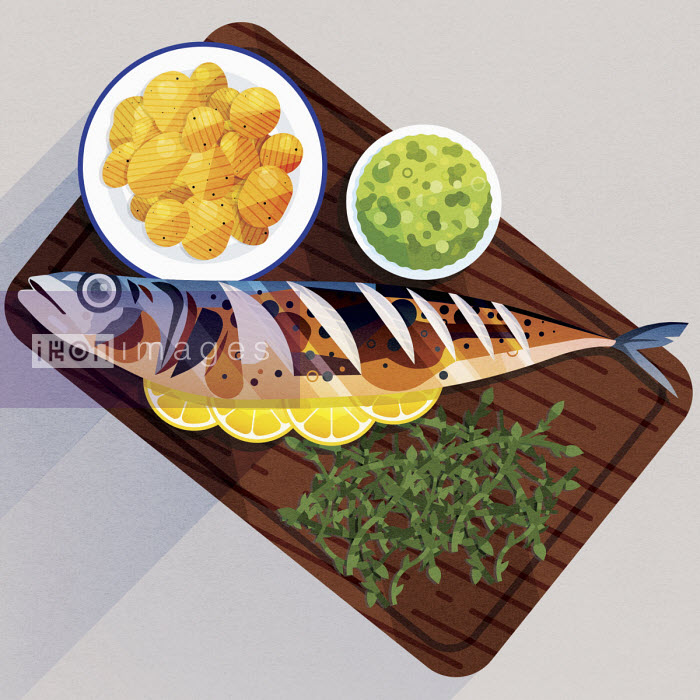 James Boast - Serving board with cooked mackerel, potatoes, mushy peas and samphire