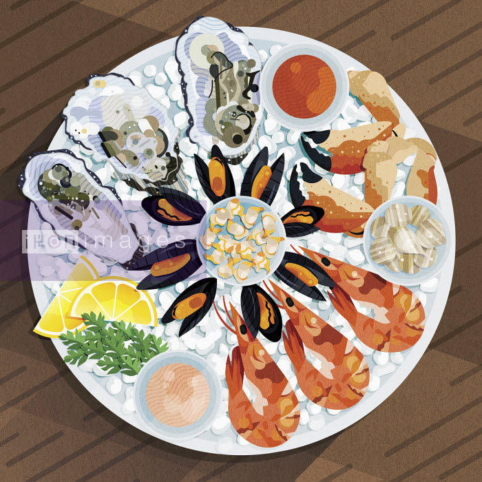 James Boast - Fresh seafood platter on ice