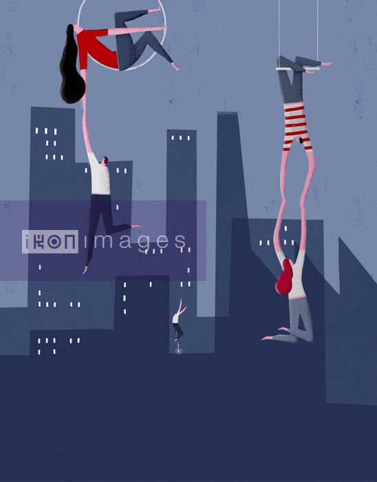 Pepe Serra - Trapeze artists helping people struggling in city