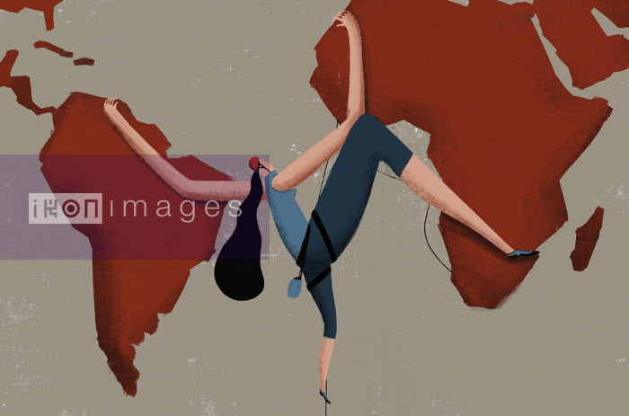 Woman rock climbing across world map Josep Serra