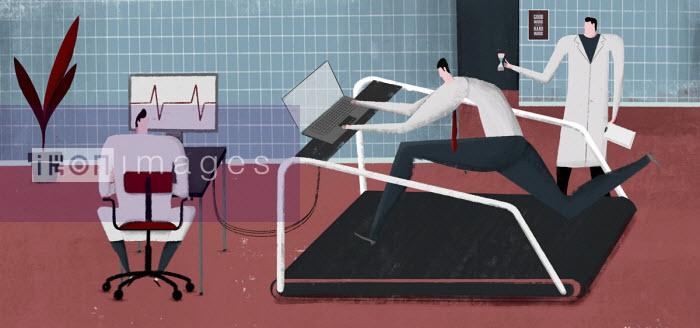 Josep Serra - Businessman being monitored working on treadmill