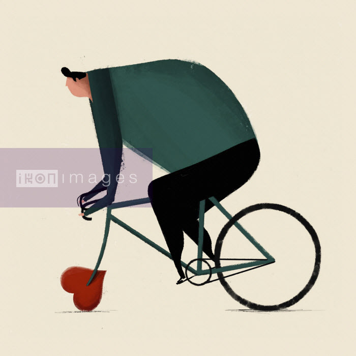 Overweight man riding bike with heart shaped wheel Josep Serra