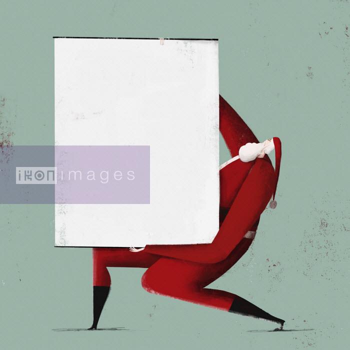 Josep Serra - Father Christmas holding blank flipchart