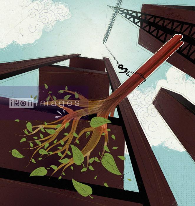Tree as girder on construction site - Huan Tran
