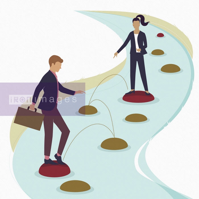 Businesswoman helping colleague choose path over stepping stones - Huan Tran