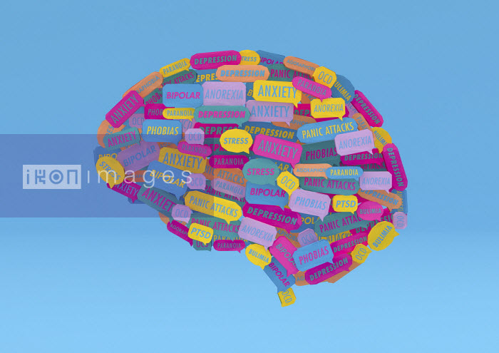 Ben Miners - Lots of speech bubbles about different mental health issues forming human brain