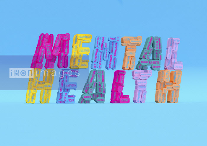 Lots of different mental health issues forming the words Mental Health - Ben Miners