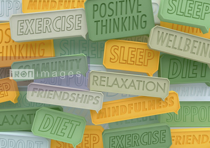 Close up of lots of positive healthy lifestyle speech bubbles - Ben Miners