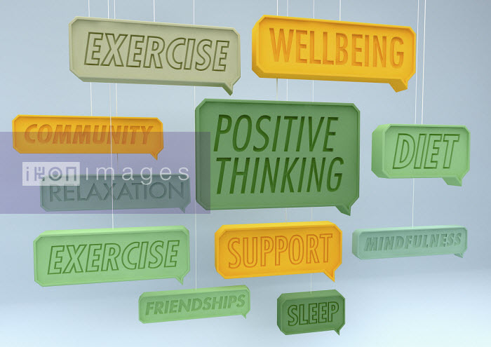 Positive healthy lifestyle speech bubbles hanging on strings - Ben Miners