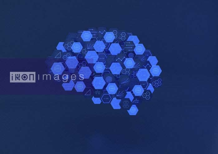 Hexagonal blocks of circuit board and mathematical formulae forming human brain - Ben Miners