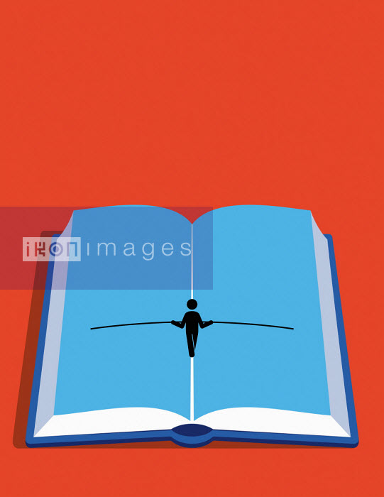 Figure walking tightrope up the centre of open book - Patrick George