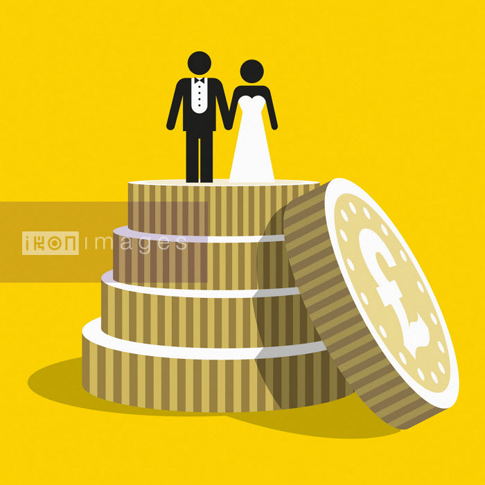 Patrick George - Pound coins as tiers of wedding cake