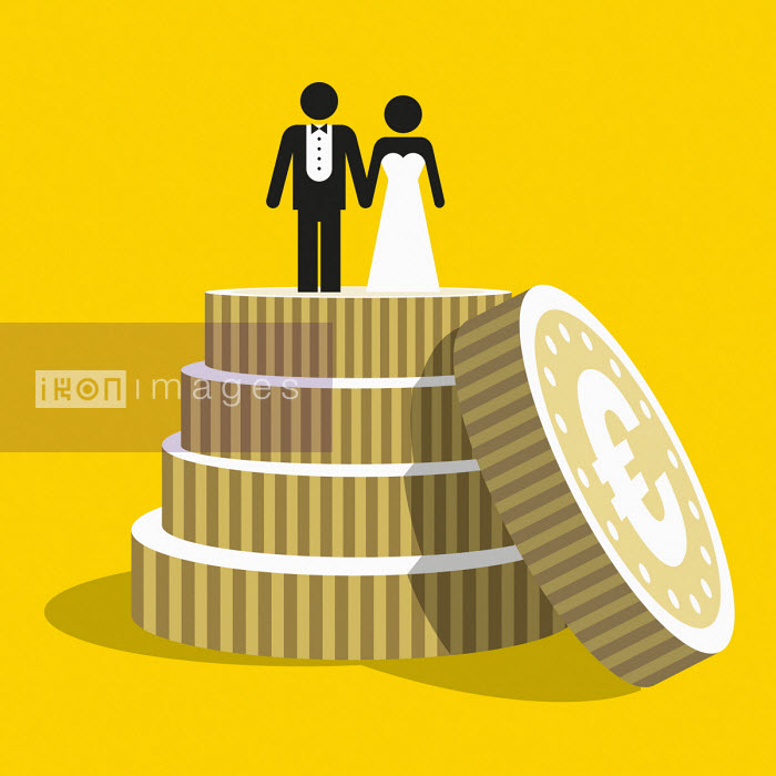 Euro coins as tiers of wedding cake Patrick George