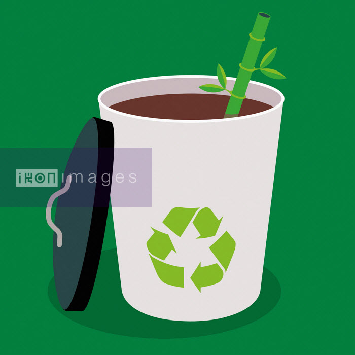 Recyclable disposable cup and straw Patrick George