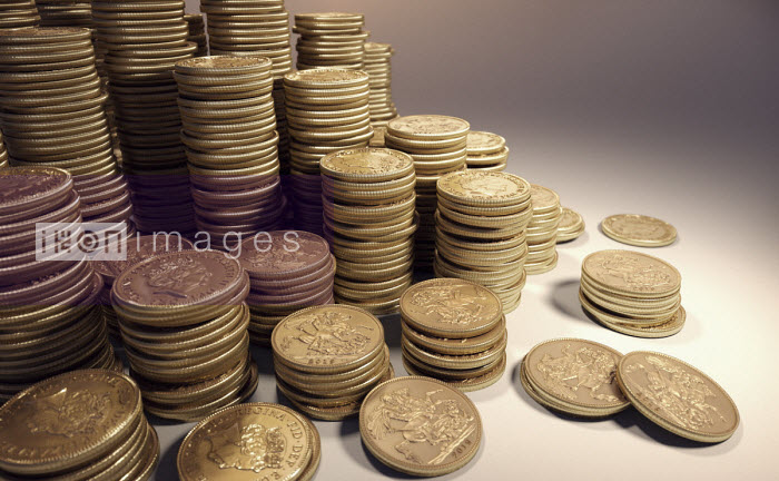 Lots of piles of gold sovereigns - Ian Cuming