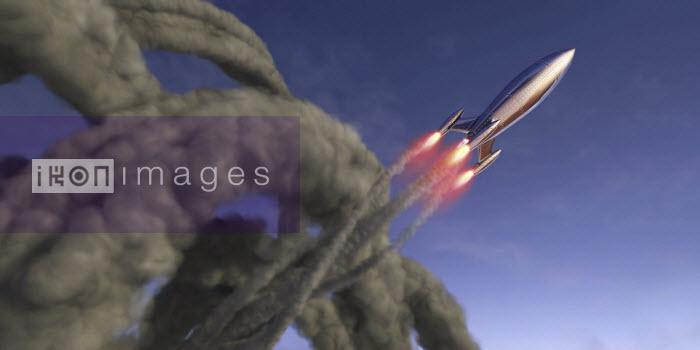 Ian Cuming - Shiny rocket rising with swirling smoke trail