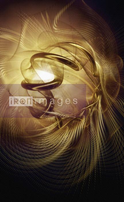 Abstract golden mesh spirals Ian Cuming