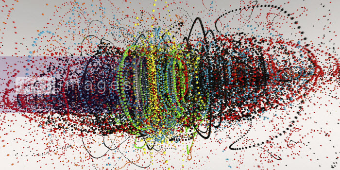 Exploding strings of multi coloured beads Ian Cuming