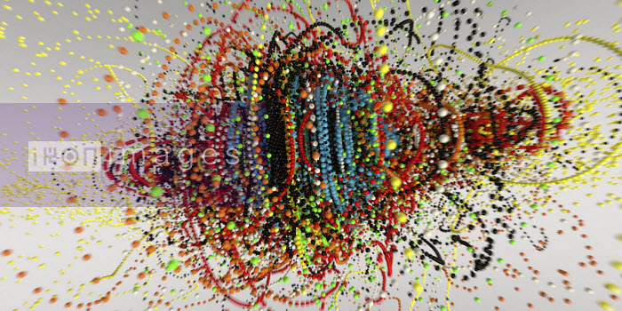 Exploding strings of multi coloured beads - Ian Cuming