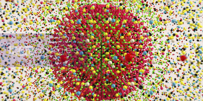 Lots of multi coloured balls exploding from circle pattern - Ian Cuming