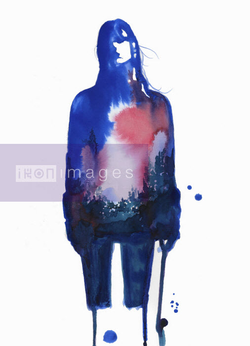 Jessica Durrant - Blurry blue watercolour sketch of young woman