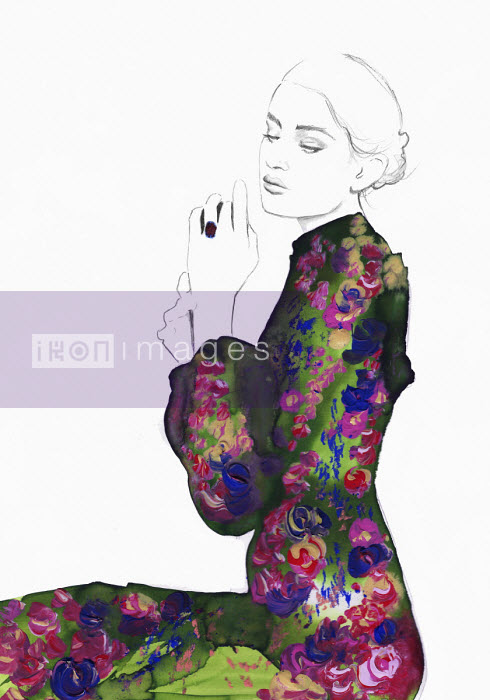Jessica Durrant - Fashion illustration of contemplative young woman wearing floral pattern dress