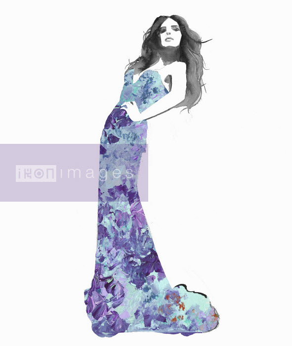 Jessica Durrant - Fashion illustration of model posing in long tight evening gown