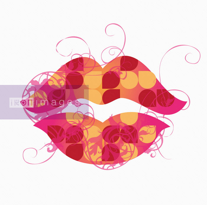 Close up of retro patterned lips - Nicole Onslow