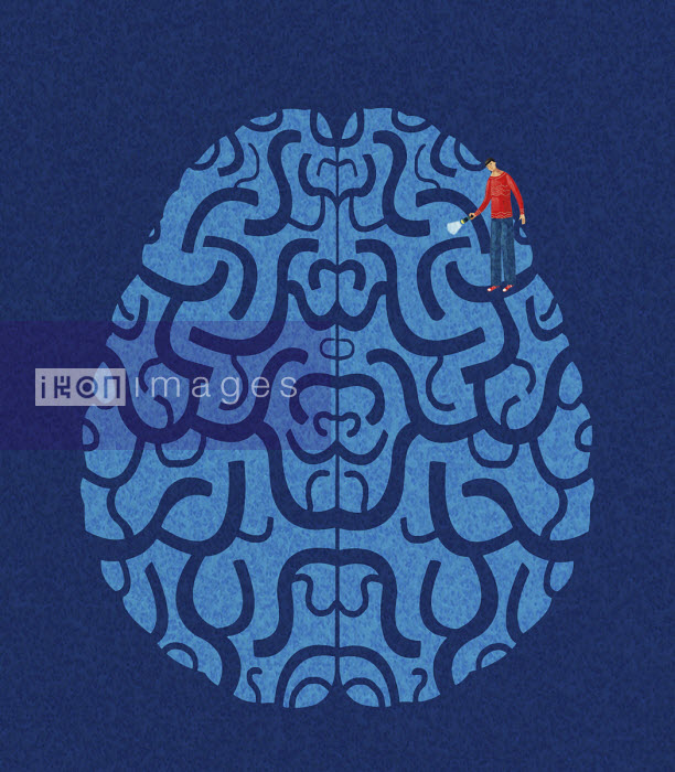 Man shining torch in brain maze - Tommaso D'Incalci