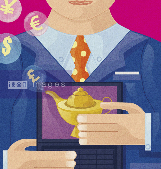 Money symbols emerging from magic lamp on laptop screen - Tommaso D'Incalci