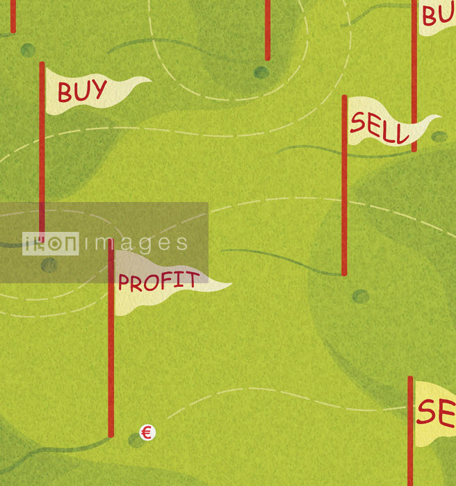 Euro sign golf ball on winding path to Profit flag on golf course - Tommaso D'Incalci