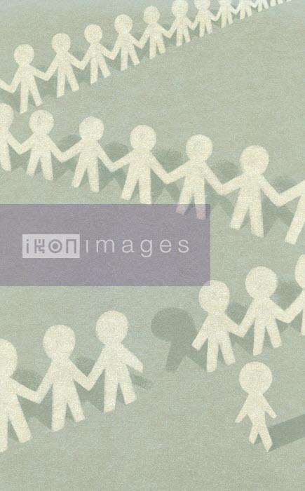 Figure walking away from paper chain people - Tommaso D'Incalci