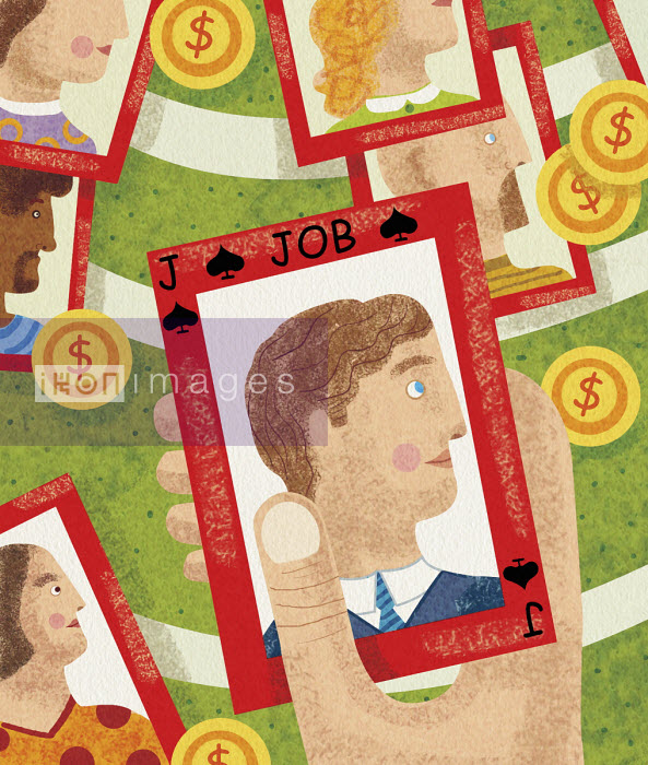 Hand choosing job candidate on playing card - Tommaso D'Incalci