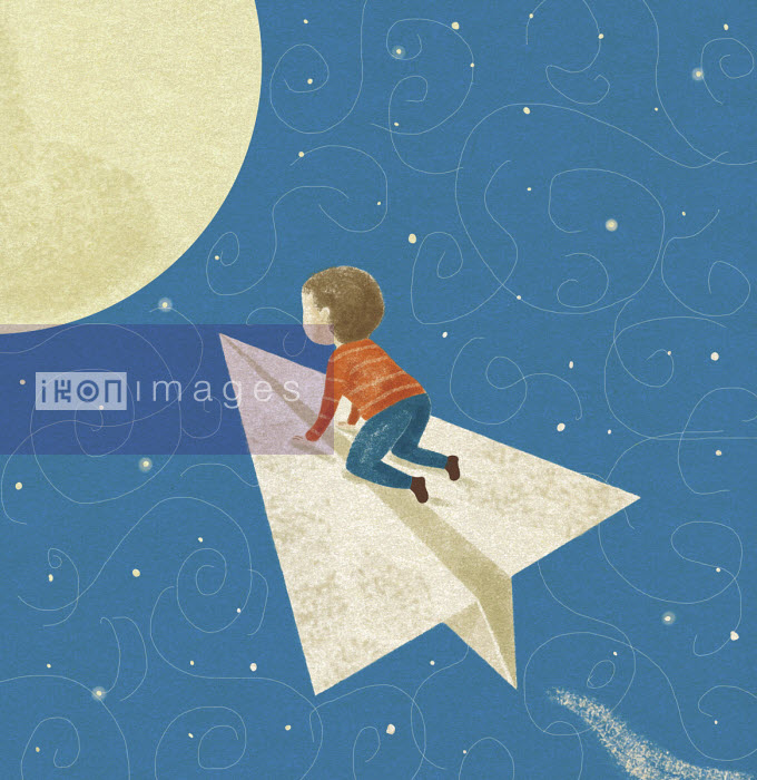 Small boy flying on paper airplane to the moon - Tommaso D'Incalci