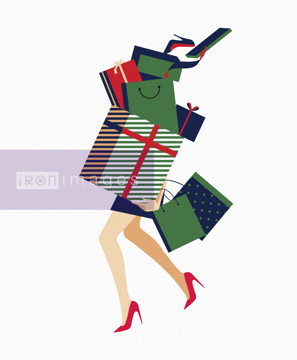 Woman carrying huge pile of shopping - Bahar