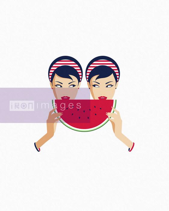 Bahar - Twin women sharing slice of watermelon