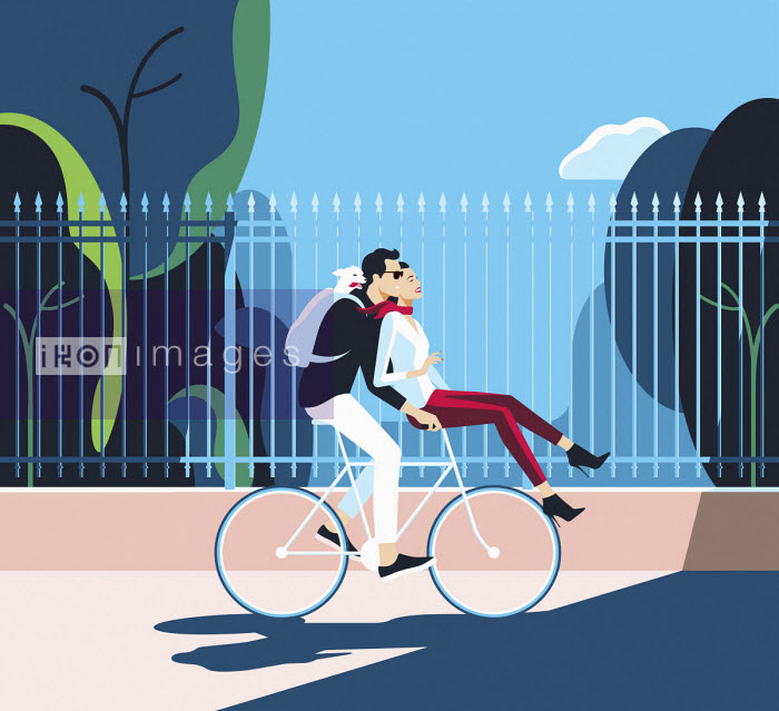 Bahar - Happy couple riding bike together