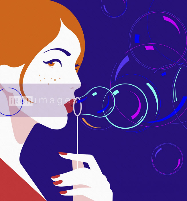 Beautiful woman blowing bubbles Bahar