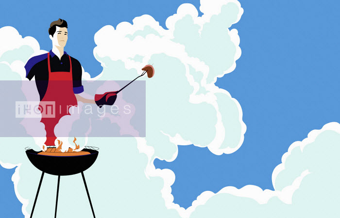 Young man barbecuing in clouds of smoke - Bahar