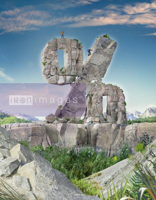 Derek Bacon - Mountaineers climbing percentage sign rock outcrop